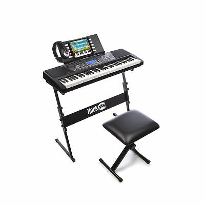 RockJam 561 Electronic 61 Key Digital Piano Keyboard SuperKit with Stand Stoo...