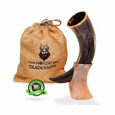 Genuine Ox-Horn Viking Drinking Horn (usable) w/ Stand & Burlap Gift Sack - (...