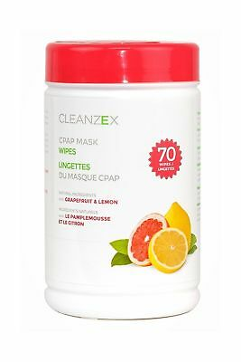 CLEANZEX CPAP Mask Wet Wipes with Grapefruit Lemon Scent (Canister of 70 wet ...