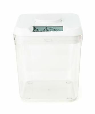 "Kitchen Safe: Time Locking Container (White Lid + Clear Base) - 5.5"" Height"
