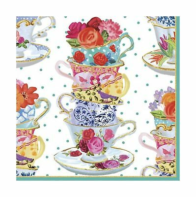 Caspari Entertaining Luncheon Napkin Pink Tea Cups 20-Pack Lunch
