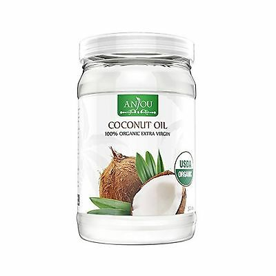 Anjou Organic Coconut Oil 946 ml Cold Pressed Unrefined Extra Virgin for Beau...