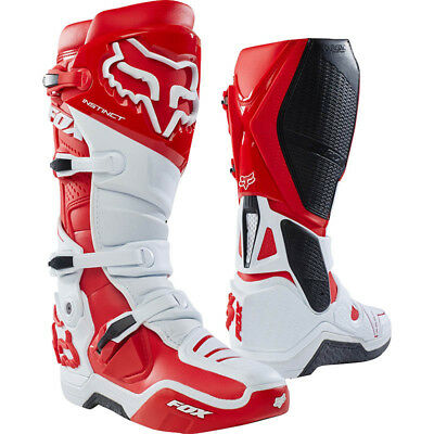 Fox Racing NEW Mx 2018 Instinct White Red Motocross Dirt Bike Adult Boots