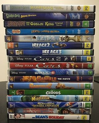 18 DVD Movies Kids and Family - Scooby-Doo, Cars, Ice Age, Garfield, Mr Bean,