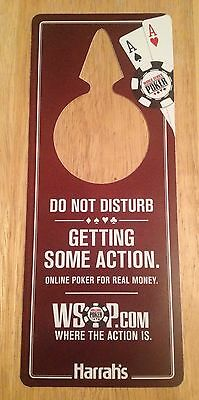 """HARRAH'S DO NOT DISTURB WSOP """"Getting Some Action"""" WORLD SERIES OF POKER SIGN"""