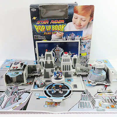 Vintage Star Rider Space Station Pop Up Book Play Set, 1997 Soma International
