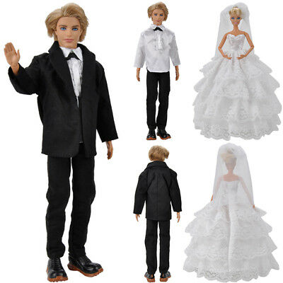 Handmade Doll Clothes Wedding Dress Gown + Formal Suit Outfit for Barbie Ken