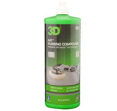3D AAT 501 Cutting/Rubbing Compound Step 1 of 2 Easy Clean Polish Buffing 32oz