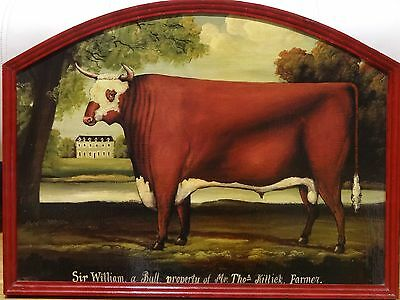 Fine Large 19th Century English School Prize Bull Portrait Antique Oil Painting