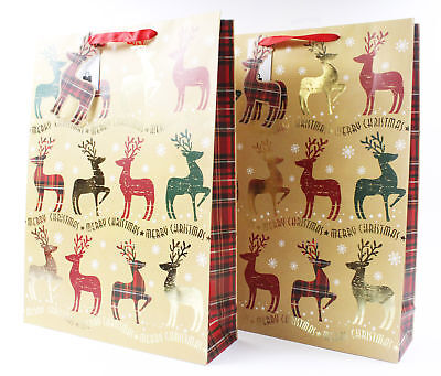 2 Pack Extra Large and Large Christmas Gift Bags Reindeer Tartan Brown Luxury