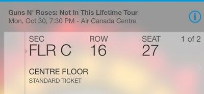 Guns And Roses Oct 30th Floor Tickets