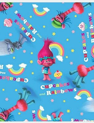 Trolls Cupcakes & Rainbows Fabric * New * Sky Blue * In Stock * Free Post *