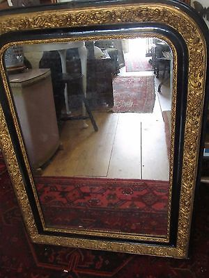Antique French Mirror Large Arched Black & Gold some foxing your courier collect