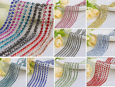 Thin Crystal Rhinestone Close Cup Chain Trim Claw Chain Jewelry Craft 1Yard 1Row