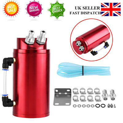 Oil Catch Can 15mm Fittings Universal Alloy Breather Tank Catcher Round New Sale