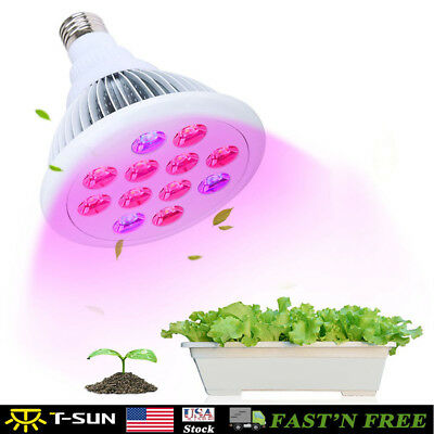 36W LED Grow Light Bulb Full Spectrum Plant Lamp Hydroponic Growing System US