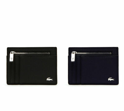 Men's Lacoste Bifold Coated Leather Credit Card Organizer Wallet Tricolor