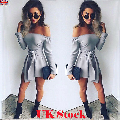 UK Womens Off Shoulder Long Sleeve Jumpsuit Ladies Casual Party Evening Playsuit