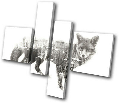 Modern Fox City Urban Animals MULTI CANVAS WALL ART Picture Print