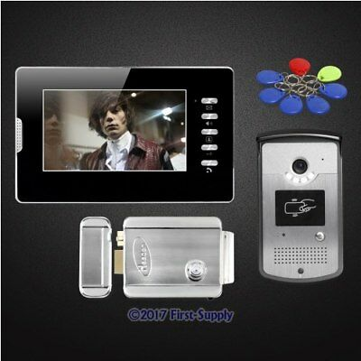 7inch Wired Video Door Phone Intercom System Electric Lock with Keys Included