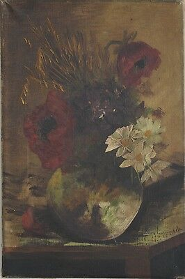 An Early 20th Century Red Flowers and Lilies Still Life  Oil on canvas Signed