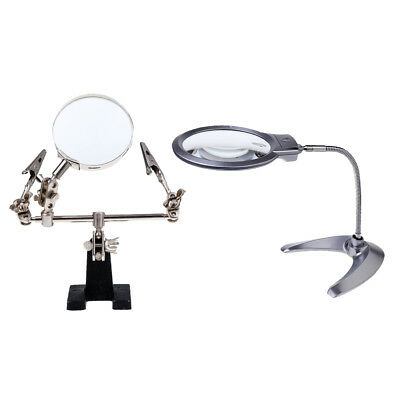 2X5X Flexible Table Lamp Magnifier with 2.5X Third Hand Alligator Magnifying