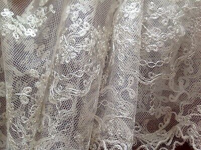Antique Unused Silver Thread Wedding Tulle Lace Fabric 4.5m X 68cms