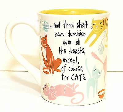 Enesco Cat Lovers Cup Mug, Large Size, Cats Have Dominion, Yellow, NEW