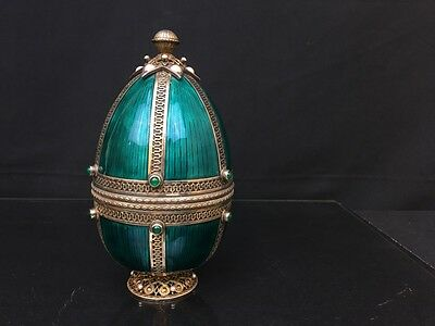Antique   Egg with Fine Turquoise Enamel On Sterling Silver