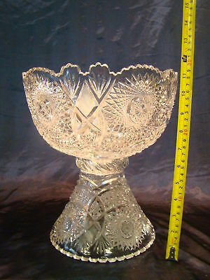 Amazing Large Crystal Glass Punch Bowl MUST SEE!!