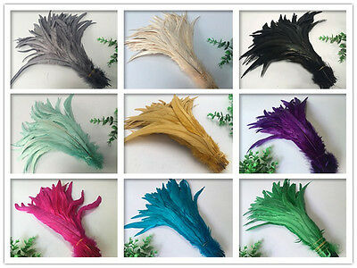 Wholesale! 10-1000 pcs rooster tail feathers 12-14 inches/30-35cm 16 colors