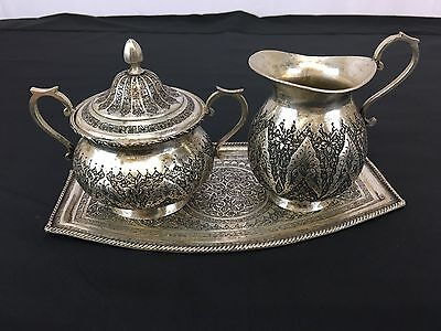 Elegant Antique Persian 84 Sterling Silver Set With Intricate Details & Motif