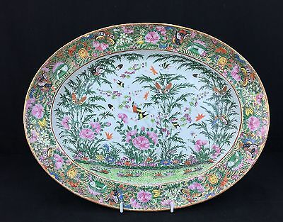 Large Antique Chinese Rose Medallion Porcelain Charger with Butterflies & Birds