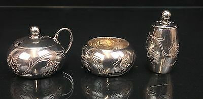 Highly Collectible Chinese Export Sterling Silver Miniature Tea Set Leaf Design