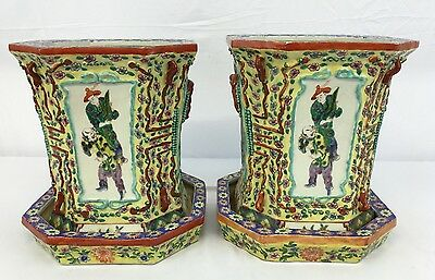 Magnificent Antique Chinese Porcelain Planters With Original Porcelain Base