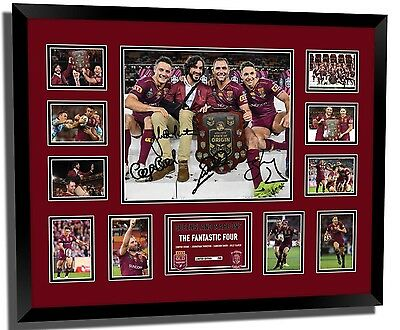 Queensland Maroons 2017 Thurston Slater Cronk Smith Signed Le Framed Memorabilia