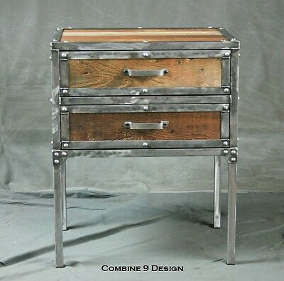 Modern industrial nightstand with drawers. Vintage end table. Reclaimed wood
