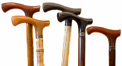 Personalised Two-Tone Wooden Walking Cane Stick & Crutch Handle, Engraved Plaque