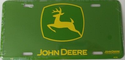 John Deere License Plate Collectible Green with Yellow Logo