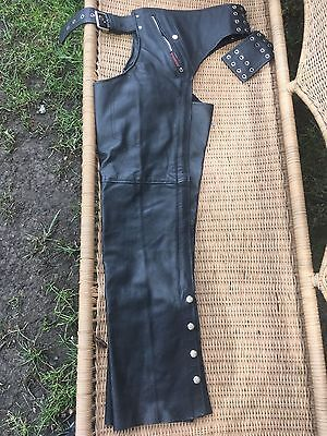 NEW Interstate Leather Chaps Unisex Black Lined Lace Up Belt Pocket Size 2XS