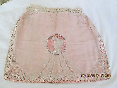 """Antique 1800's Italian Figural Needle Lace Hand Made Lingerie Bag Silk 15 X 18"""""""