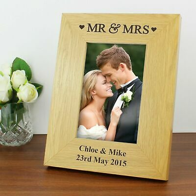 Personalised Wooden Mr and Mrs Photo Album with sleeves Wedding Day Gift Ideas