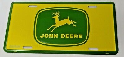 John Deere License Plate Truck Tractor Wall Decor Collectible Yellow Green Logo