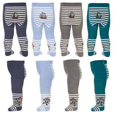 Baby Boys Cotton Tights Pirate Ship Stripes Tuptusie E2D
