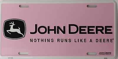 John Deere Runs Like A Deere Pink License Plate Metal Sign Girl Truck Pink Brown