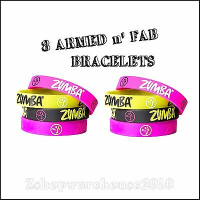 ZUMBA ARMED N' FAB 8 PK. RUBBER BRACELETS- Stylish+Fab! Loved By all! CONVENTION