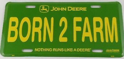 John Deere Tractor Born To Farm Metal license Plate Green Yellow Truck Car Size