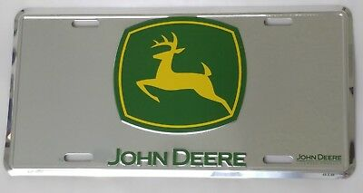 John Deere License Plate Metal Sign Chrome Green Yellow Tractor Truck Size