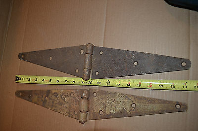 2 large Farm house Barn door hinges antique Vtg heavy duty
