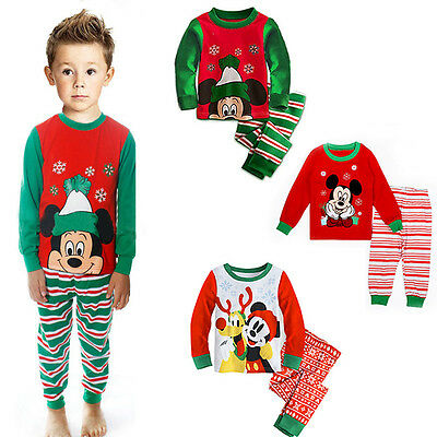 Christmas Baby Boys Girls Kids Mickey Mouse Nightwear Xmas Pajamas Set Sleepwear